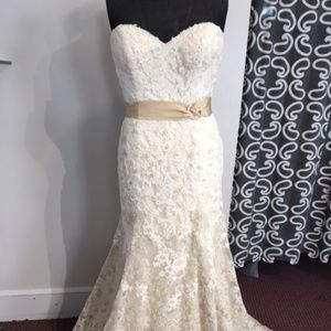 Size 14 Petite Iv/Gold Bridal gown
